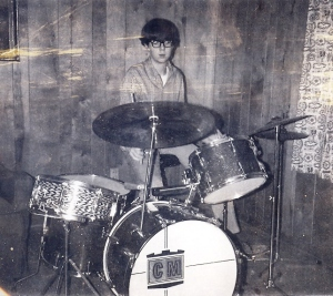 Me on my first drumset, age 12
